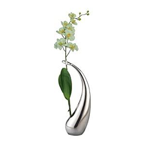 Nambe Elbow Bud Vase with Silk Orchid