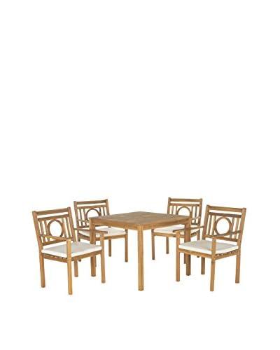 Safavieh Montclair 5-Piece Dining Set, Teak Brown/Beige