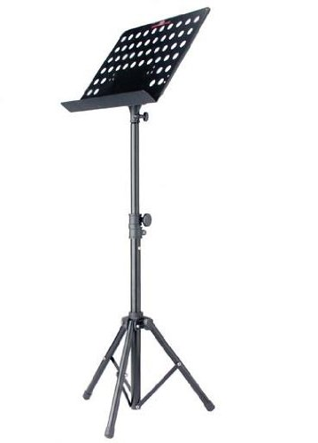 Stagg Professional Heavy Duty Folding Orchestral Music Stand with Adjustable Height - Black Color