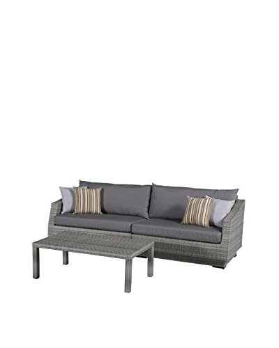 RST Brands Cannes 2-Piece Sofa & Coffee Table Set, Grey