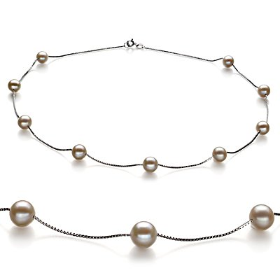 PearlsOnly Tin Cup White 7.0-7.5mm AA Freshwater Cultured Pearl Necklace with Silver Rhodium Plated Chain