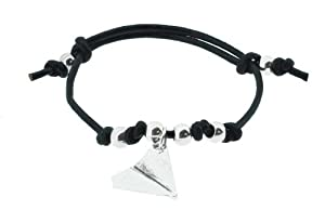 Brown Leather Stainless Steel Harry Style Paper Airplane Bracelet, One Direction Bracelet Airplane from Hinky Imports