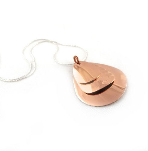 Large Solid Copper Triple Curved Oval Drop Pendant and 925 Silver Chain Necklace Jewellery Gift 45cm / 17.7