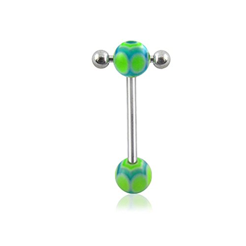 14Gx5/8(1.6x16mm) 316L Surgical Steel Straight Barbell with 6/6MM UV Spider's Web Ball and Small Barbell with Ball Moving in Side Tongue Piercing Rings