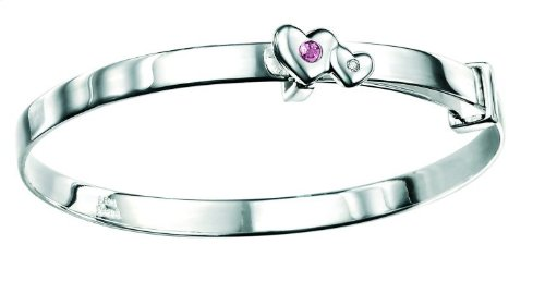 D for Diamond Sterling Silver B3296 Girls Pink Tourmaline and Diamond Set Double Heart Bangle - October Birthstone