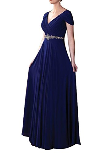 WeiYin Women's Cap Sleeve V-neck Ruched Empire Line Mother of the Bride Dresses Royal Blue US 20