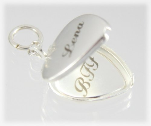 Heart Shaped Silver Plated Locket Engraved and Personalized for Hair Bows