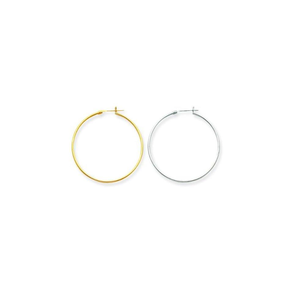 14K Yellow & White Gold Hoop Earrings Set Jewelry A Jewelry