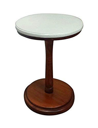 Urnporium Mahogany Wood Round Pedestal Table with White Marble Terrazzo Top (Tall White Pedestal compare prices)