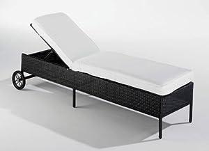 rattanliege polyrattan schwarz mit r dern und auflage gartenliege relaxliege. Black Bedroom Furniture Sets. Home Design Ideas