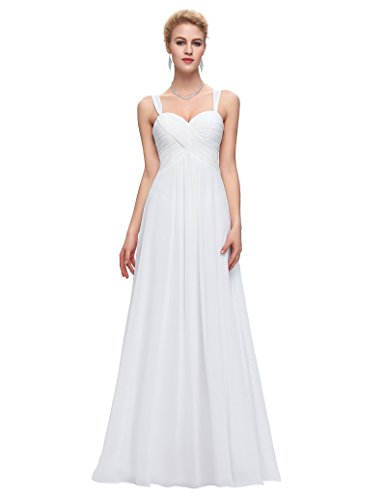 Sweetheart Sleeveless Chiffon Ball Gown Evening Prom Party Dresses White Size 6