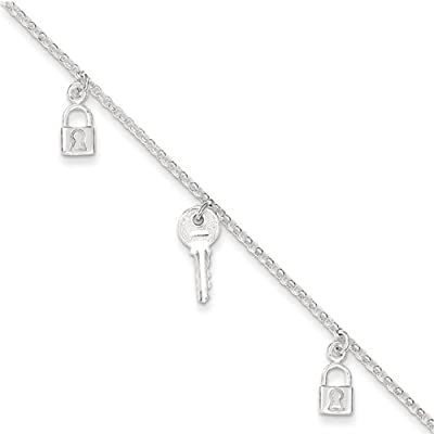 "Sterling Silver Polished Lock & Key Anklet Length 10"": Jewelry"