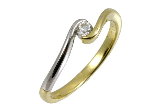 9ct Two-Colour Gold Diamond Engagement Ring with Round Brilliant Diamond Solitaire, Twist Ring, 0.10 Carat Diamond Weight