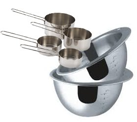 Culinary Depot Measuring Bowls, S/S with Interior Graduations 4, 6 Cups Baking Set Includes S/S Measuring Cups Set (Huge Punch Bowl compare prices)