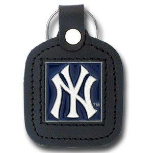 New York Yankees Square Leather Key Chain - MLB Baseball Fan Shop Sports Team Merchandise