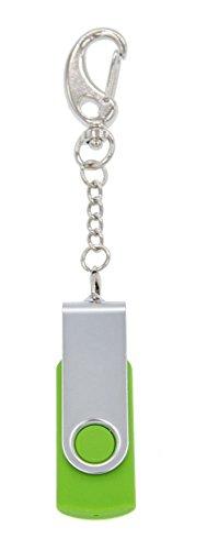 FEBNISCTE 8GB Green Swivel USB 2.0 Flash Drive Memory Stick with Keychain
