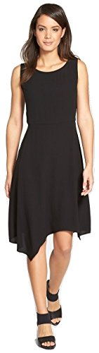 Eileen Fisher Womens Asymmetrical Silk Crepe Dress Black Size Small