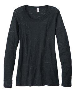 Ladies' 3.1 oz. Gretchen Burnout Long-Sleeve T-Shirt, Black, L