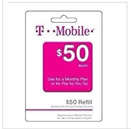 50$ T-mobile prepaid refill card tmobile refill top up