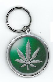 Chrome Marijuana Pot Leaf Design - High Quality Metal Portachiavi Keychain - Protective Packaging