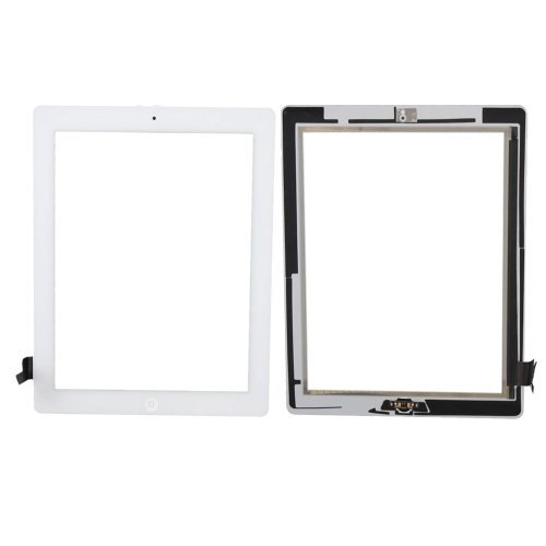 Teenitor New White iPad 2 Digitizer Touch Screen Front Glass Assembly - Includes Home Button + Camera Holder + PreInstalled Adhesive