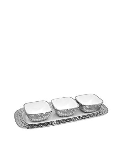 Godinger White Weave 3-Piece Condiment Set