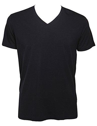 Aimer Men'S Blending Of Tencel (Lyocell) And V-Neck Short Sleeve Design T-Shirt Xl Dark Blue