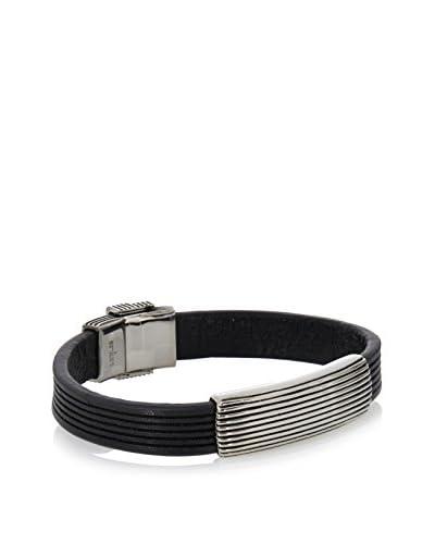 Stephen Oliver Oxidized Silver and Black Leather Bracelet
