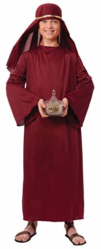 Biblical Times Burgundy Red Wiseman Costume Robe Child Christmas Manger Boys