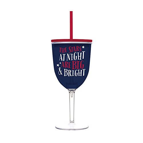Insulated Wine Glass With Straw front-456560