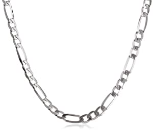 Men's 14k White Gold 3.8mm Figaro Chain Necklace, 20