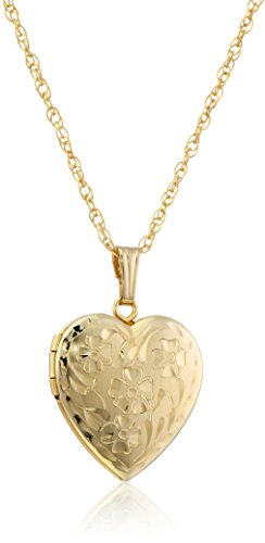14k Yellow Gold-Filled Engraved Flowers Heart Locket, 18""