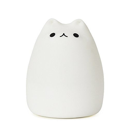 [Deal]Goline Cute Kitty Led Children Night Light, Multicolor Silicone Soft Baby Nursery Lamp, Sensitive Tap Control, Warm White & 7-Color Breathing Dual Light Modes, 12-Hour Portable Usage.(Gl-Nl003)