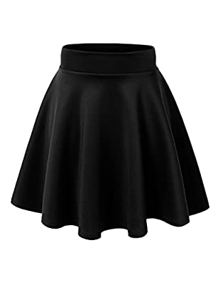 MBJ Womens Basic Versatile Stretchy Flared Skater Skirt