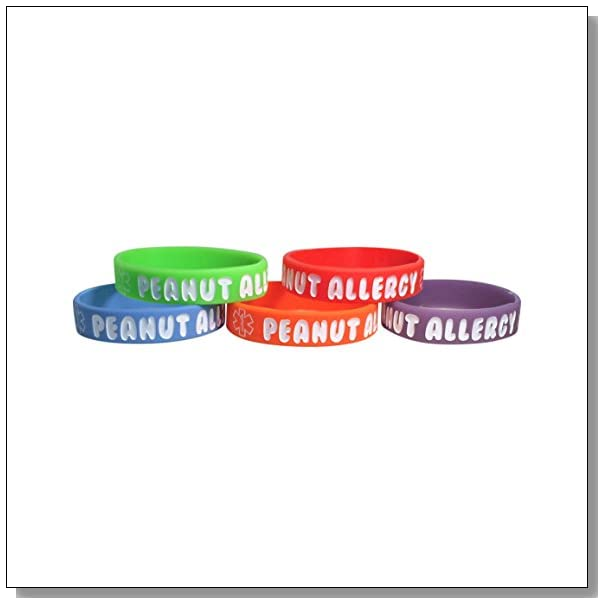 Kid's Peanut Allergy Silicone Medical Alert Bracelet(Pack of 5) Red, Orange, Blue, Purple, Green (6 inches)
