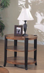 Cheap Dark Brown Finish Wood Round Occasional End Side Table (VF_700397)