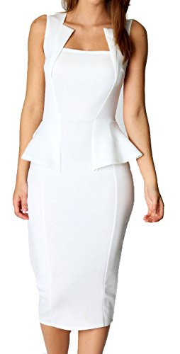 Made2envy Bodycon Midi Peplum Dress with Square Neckline (M, White) C6150-1