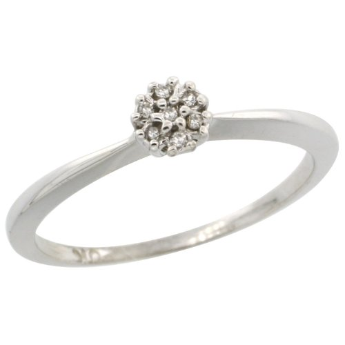 10k White Gold Flower Cluster Diamond Engagement Ring w/ 0.022 Carat Brilliant Cut Diamonds, 3/16 in. (5mm) wide, size 7.5