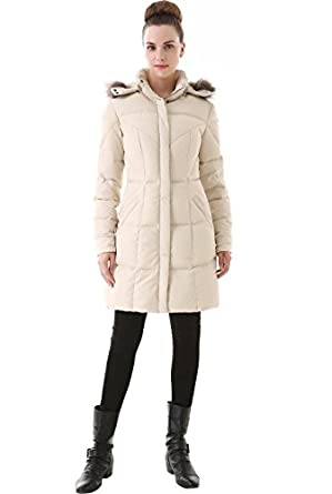 Jessie G. Women's Down Parka Coat with Faux Fur Trim Hood - Beige X-Small