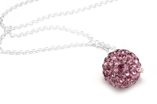 Pink Sapphire Crystals Color Necklace, Includes Sterling Silver 18 Inch Chain, Now At Our Lowest Price Ever but Only for a Limited Time!