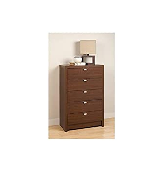 Valhalla Designer Series Medium Brown Modern Walnut 5-Drawer Chest
