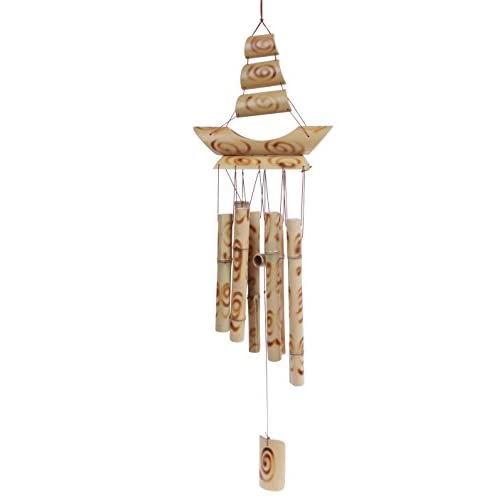 Bamboo Stalk Wind Chime - Wood Burned Swirl Designed Melodic Chime for Garden, Patio, Home - 24 Inches