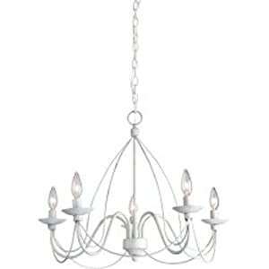 Artcraft Lighting AC1485AW Wrought Iron Five-Light Chandelier, Antique White