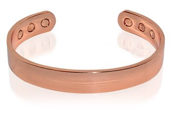 Magnetic Copper Mens Golf Plain Cuff Bracelet 7.5 ""
