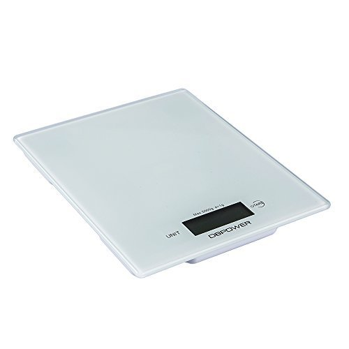 DBPOWER 11lb/5000g Digital Kitchen Scale, 0.1oz Resolution, Multifunction Kitchen Food Scale Measuring, High Precision Touch Sensitive, Tempered Glass, White