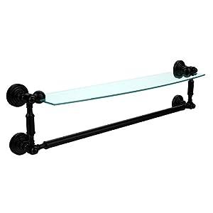 Allied Brass WP-33TB/24-SCH Glass Shelf with Towel Bar, 24-Inch x 5-Inch, Satin Nickel