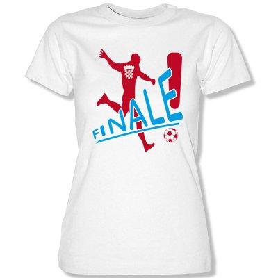 KROATIEN FINALE Damen T-Shirt Weiss / Rot-Blau