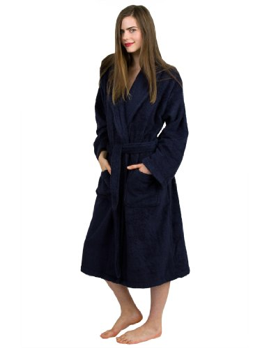 Towelselections Egyptian Cotton Bathrobe Terry Shawl Robe For Women And Men Made In Turkey X-Small/Small Navy front-635679