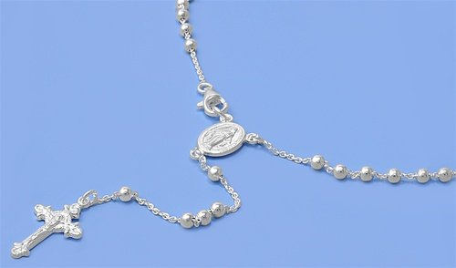 Sterling Silver Rosary Cross Pendant Necklace with Beads - Length: 3mm X 24inches