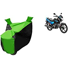 Bike Body Cover For Hero Glamour In Green And Black Color
